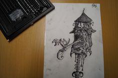 Kohlestift zeichnung made by Wunderdings-Kathi Gmeis// idee Unbekannt Horror, Cuckoo Clocks, Soapstone, Do Your Thing, Random Stuff, Crafts, Do Crafts
