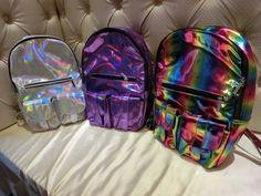 Holographic Backpacks in Multiple Colors: Purple, Silver & Rainbow - Unique Backpacks, Backpacks For Sale, Cheap Backpacks, Piercing, Mini Mochila, Bling, Kids Bags, Backpack Purse, Mini Backpack