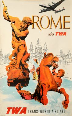 size: Giclee Print: Rome Italy - via TWA (Trans World Airlines) - Fountain of Neptune by David Klein : This exceptional art print was made using a sophisticated giclée printing process, which deliver pure, rich color and remarkable detail. Vintage Italian Posters, Vintage Travel Posters, Vintage Ads, Vintage Airline, Vintage London, Poster Retro, Poster Ads, Poster Vintage, Voyage Rome