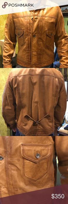 """Lucky brand Carmel brown leather jacket Gorgeous never worn men's large Lucky Brand leather jacket. """"Distressed"""" style Carmel brown leather. Jean jacket style. Lucky Brand Jackets & Coats"""