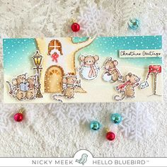 Hello Bluebird's Merry Mice is just so delightful and I had many extra images coloured so I couldn't resist putting them into a scene that. Winter Cards, Holiday Cards, Christmas Cards, Christmas Ideas, Xmas, Bird Barn, Barn Owls, Little Birds, Cool Cards