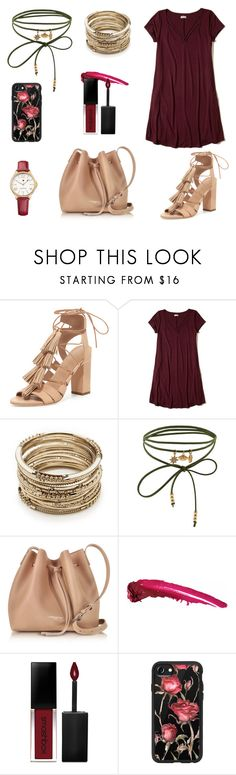 """""""burgandy rose"""" by louise-bailey-1 ❤ liked on Polyvore featuring Loeffler Randall, Hollister Co., Sole Society, Accessorize, Lancaster, Smashbox, Casetify, Tommy Hilfiger, casualoutfit and contestentry"""