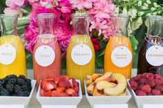 What's better than mimosas flavored with fresh fruit at a girls' brunch or wedding shower? This bar is a delicious and colorful addition to any outdoor get-together. Photo by J Wiley Photography via Green Wedding Shoes