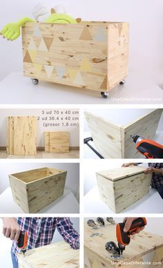 Best 11 Tutorial DIY Caja de cuentos wood & chalkboard bY Ninomaru Skill Cheap Home Decor, Diy Home Decor, Boys Toy Box, Diy Casa, Diy Holz, Kids Room Design, Diy Wood Projects, Baby Room Decor, Wooden Diy