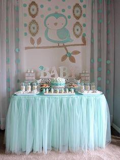 "Turquoise Owl ""Welcome Home Baby"" Party via Kara's Party Ideas | KarasPartyIdeas.com (18)"