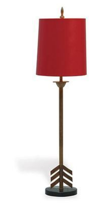 """Scalamandre Maison by PORT 68 Franco 40""""H Buffet Lamp is a nod to Scalamandre founder Franco Scalamandre. The hunting arrows of the """"Le Zebre"""" print inspired the buffet lamps from this iconic Scalamandre pattern. Hardback drum Shade is available with faux lizard in Red or Faux lizard in Ivory with gold foil lining giving your dinning a rich look to your home decor."""