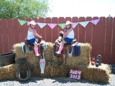 Cowgirl party photo set up.
