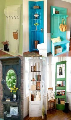 You will be surprised how many things you can do with old doors. Giving a re-purpose of an old furniture is a great way to extend its time being and cont Old Door Projects, Home Projects, Furniture Makeover, Diy Furniture, Rustic Decor, Farmhouse Decor, Doors Galore, Old Doors, Repurposed Furniture