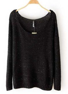 Autumn Essential Knitting Wool Round Neck Sweaters Black
