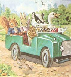 Racey Helps - adorable woodland creatures going for a ride in a vintage car!