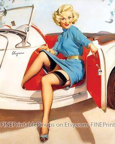 Pin Up Girl PRINT Brunette Wearing Black Stockings Yellow Dress Vintage Car