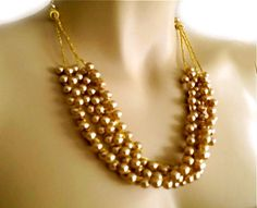Champagne Pearl Necklace Bridal Statement by PearlJewelryNecklace, $47.00