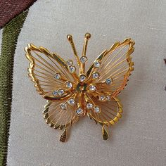 Vintage 1960s Gold Filigree Butterfly Pin or by oldstuffinboxes #etsy #butterfly #pin #brooch