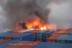 Cargo ship on fire!