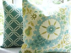 Aqua white and green accent pillows