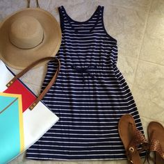 Blue and white striped dress Joe Fresh striped dress with cinch waist. Dresses