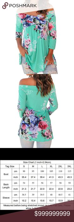 😍COMING SOON😍Mint off the shoulder floral top 2xl mint off the shoulder top with floral detail with 3/4 length sleeves❤️HP Everything Plus Size party 9/5 Tops Blouses