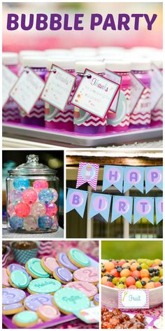 A fun Bubble girl birthday party with bubble favors, a bubble wrap dance floor and giant bubbles!  See more party ideas at CatchMyParty.com!