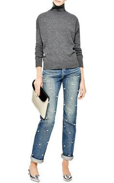 Faux Pearl-Embellished Jeans by Tu es mon Tresor