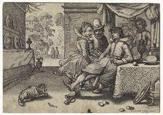Simon Poelenburg   Elegant gezelschap aan gedekte tafel, Simon Poelenburg, 1614   Een rijk gekleed stel en een jongeman met glas in de hand zitten aan een gedekte tafel op een patio met uitzicht op een tuin. Naast de tafel een wijnkoeler op de grond. Tegen de linker wand een lange, smalle kast met tinnen borden.
