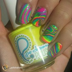 repost via @instarepost20 from @_polishaholic SUNSHINE!!! There has actually been a few glimmers of sunlight the last few days! I love it  any who... My second attempt at a water marble! There's still room for progress but we're getting there  I used @pipedreampolish A Night In Vegas collection #pipedreampolish  @ultabeauty Snow White for my base @glistenandglow1 Hk girl top coat  So bright and so amazing! Yay neon! #instarepost20 www.pipedreampolish.com