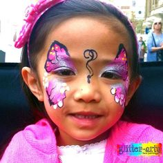 Pink butterfly face painting - professional face painter for school events, parties, corporate events. by Glitter-Arty Face Painting, Bedford, Bedfordshire