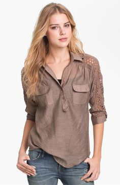 KUT from the Kloth 'Leana' Lace Trim Shirt available at Nordstrom. I like this but not in this color