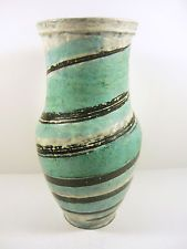 "GORKA LIVIA TURQUOISE RETRO VASE WITH  TWISTED MOTIF 11.2"",1960'S ART POTTERY !"