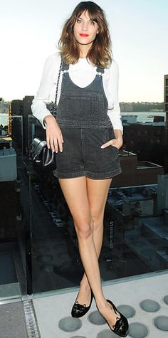 SEPTEMBER 2, 2012 Alexa Chung Editor's choice WHAT SHE WORE Alexa Chung feted the Saint James' capsule collection with Barneys in a jumper, white blouse, quilted Chanel chainstrap bag and patent leather Charlotte Olympia shoes. WHY WE LOVE IT The stylish star looked adorable from her denim overalls to her feline flats!