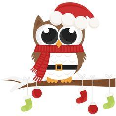 Santa Owl scrapbook clip art christmas cut outs for cricut cute svg cut files free svgs cute svg cuts