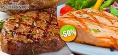 Serrano's Meat House - $190 en lugar de $380 por 2 Jugosos Filetes New York ó 2 Filetes de Salmón a la Parrilla con Ensalada Mixta o Puré de Papa Click http://cupocity.com/
