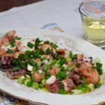 Octopus tentacle in vinegar - Mamoukaris Recipes Octopus Tentacles, Vinegar, Potato Salad, Potatoes, Meat, Chicken, Ethnic Recipes, Food, Kitchens