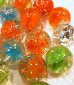 Baked marbles? Yep just that baked marbles..What does that mean exactly?? It means baking standard playing marbles in a 350 degree oven for 20 minutes and dropping them in an ice bath for a cracked…