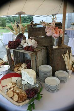 thyme to cook catering: the boxes are nice for centering the buffet