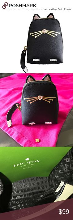 "✨NWT✨kate spade collectible ""Jazz Things Up"" Cat ✨NWT✨kate spade collectible ""Jazz Things Up"" Cat Coin Purse.                                                         Crosshatched leather with matching trim  14-karat light gold plated hardware  Zip closure w/Leather tail zipper pull(super cute)  kate spade black signature fabric lining(interior)  Imported  Dimensions: 3.5"" L x 2.25"" W x 4.75"" H kate spade Bags Wallets"