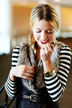 fur collar vest. red lips. stripes. For fall