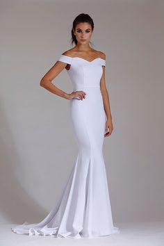 Off the shoulder fitted mermaid gown Modest Dresses, Bridal Dresses, Wedding Gowns, Prom Dresses, Formal Dresses, Pageant Gowns, Wedding Bells, Boho Wedding, Wedding Venues