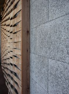 Detail of the barrel stave wall and Durisol wall, both of which were designed to…