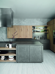 Cloe -  Cloe / Edit Dark eco cement Natural Knotted oak    Dark eco cement base unit door. Wall and tall unit doors in natural knotted oak - http://cesar.it/en/cucine/cloe/eco-cemento-scuro-rovere-nodato-natural/
