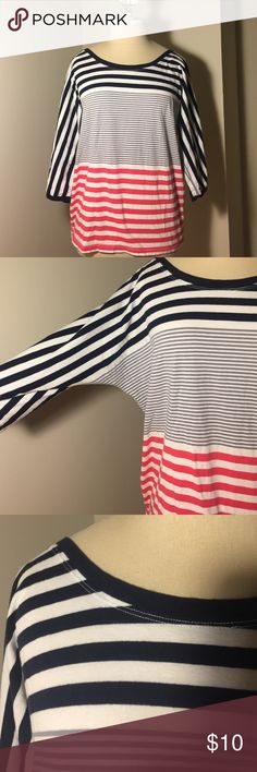 Navy, grey and coral striped gap shirt Cute navy, gray and coral striped shirt from gap! Sleeves are 3/4 length. Fit is loose/relaxed. GAP Tops Tees - Long Sleeve