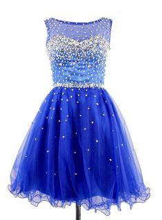 Blue Beaded Homecoming Dress