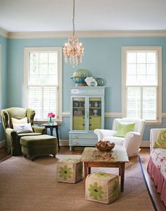 """I love the """"old"""" green chair with the new-ness of the room..."""