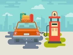 Refuel+car+at+gas+station+concept+flat+illustration.Vector+files,+fully+editable.