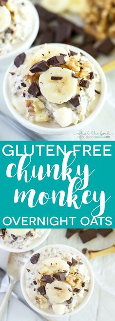 Gluten Free Chunky Monkey Overnight Oats - everyone's favorite pint of ice cream turned into a healthy, make-ahead breakfast. Recipe includes notes for dairy free.