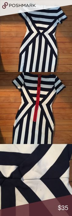 """Maeve """"Meeting Point"""" Dress in Navy & White Stripe Great stretchy pencil dress with a flattering stripe pattern from Anthropologie. Hits right at the knee.   I wore it about three times so there are hardly any defects but I took a photo of a small dot I saw on the front. Message for more details! Anthropologie Dresses"""