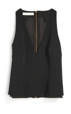 Black Deep-V Neck Top by Cédric Charlier - Moda Operandi