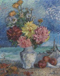 David Burliuk, (Russian/American, 1882-1967), Still Life with Flowers