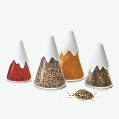 Himalaya-Spice Shakers- Design By Peleg Design- Kitchen gadgets for fun cooking at Monkey Business Spice Containers, Spice Jars, Glass Containers, Spice Bottles, Food Packaging, Packaging Design, Spice Shaker, Monkey Business, Cuisines Design