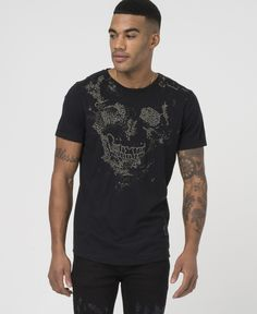 SKULL STITCH TEE - BLACK - New in - £35