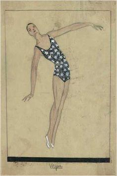 Summer 1924. Swimsuit by Jeanne Lanvin